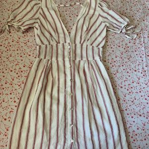 pin stripe Parisian style dress with puff sleeves